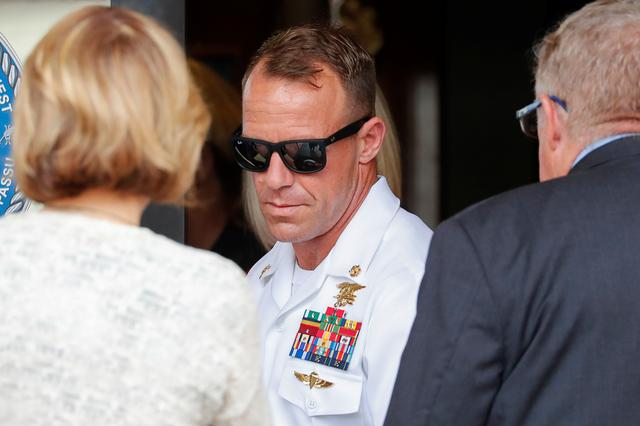 FILE PHOTO: U.S. Navy SEAL Special Operations Chief Edward Gallagher leaves court after the first day of jury selection at the court-martial trial at Naval Base San Diego in San Diego, California , U.S., June 17, 2019.    REUTERS/Mike Blake