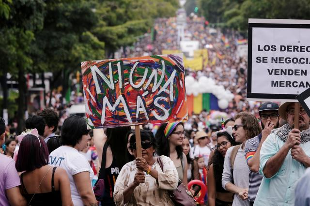 Thousands take part in the annual Gay Pride parade along a Central Avenue, in San Jose, Costa Rica June 23, 2019. REUTERS/Juan Carlos Ulate