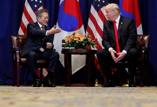 FILE PHOTO: U.S. President Donald Trump holds a bilateral meeting with South Korean President Moon Jae-in on the sidelines of the 73rd United Nations General Assembly in New York, U.S., September 24, 2018. REUTERS/Carlos Barria