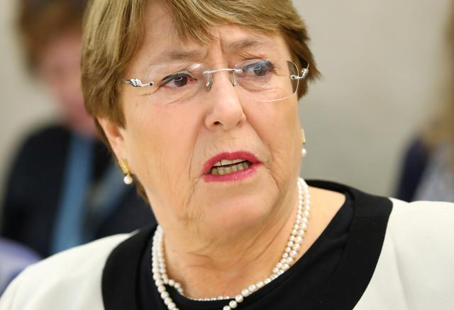 FILE PHOTO: U.N. High Commissioner for Human Rights Michelle Bachelet attends a session of the Human Rights Council at the United Nations in Geneva, Switzerland, March 6, 2019.  REUTERS/Denis Balibouse