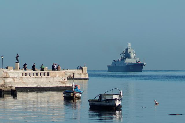 Russian guided missile frigate Admiral Gorshkov enters Havana's bay, Cuba, June 24, 2019. REUTERS/Alexandre Meneghini
