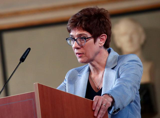 FILE PHOTO: Annegret Kramp-Karrenbauer, chairwoman of Germany's Christian Democratic Union (CDU), delivers a speech during a festivity to celebrate the 70th anniversary of the German Institute for Economic Research (Ifo) in Munich, Germany, June 6, 2019.   REUTERS/Michael Dalder/File Photo