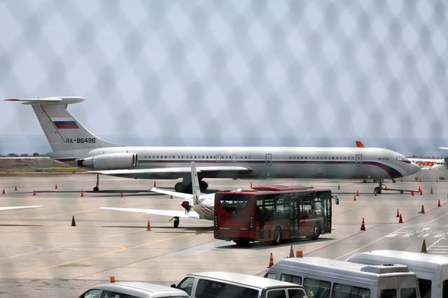 An airplane with the Russian flag is seen at Simon Bolivar International Airport in Caracas, Venezuela June 24, 2019. REUTERS/Manaure Quintero