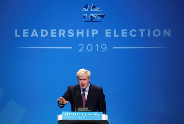 Boris Johnson, a leadership candidate for Britain's Conservative Party, speaks during a hustings event in Birmingham, Britain, June 22, 2019. REUTERS/Hannah McKay