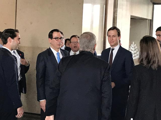 "White House senior adviser Jared Kushner and Treasury Secretary Steven Mnuchin arrive at Manama's Four Seasons hotel, the venue for the U.S.-hosted ""Peace to Prosperity"" conference, in Manama, Bahrain, June 25, 2019.  REUTERS/Matt Spetalnick"