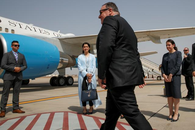 U.S. Secretary of State Mike Pompeo, walks toward a plane to depart Jiddah, Saudi Arabia June 24, 2019, en route to Abu Dhabi. Jacquelyn Martin/Pool via REUTERS