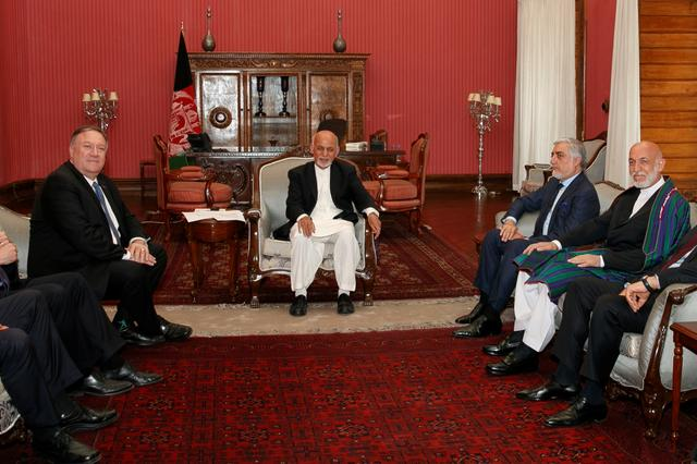 Secretary of State Mike Pompeo meets with Afghan President Ashraf Ghani, Afghan Chief Executive Officer Abdullah Abdullah, and former Afghan President Hamid Karzai at the Presidential Palace in Kabul, Afghanistan, June 25, 2019. Jacquelyn Martin/Pool via REUTERS
