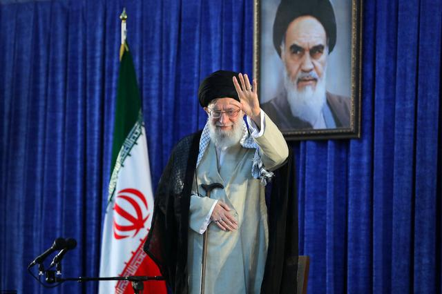 FILE PHOTO: Iran's Supreme Leader Ayatollah Ali Khamenei waves his hand as he arrives to deliver a speech during a ceremony marking the 30th death anniversary of the founder of the Islamic Republic Ayatollah Ruhollah Khomeini in Tehran, Iran June 4, 2019. Official Khamenei website/Handout via REUTERS