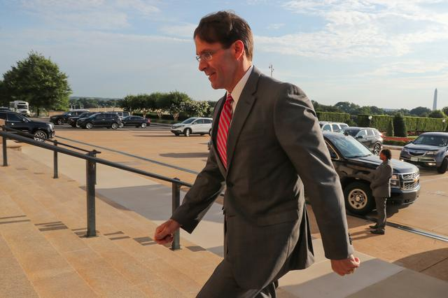 U.S. acting Secretary of Defense Mark Esper arrives for the first day in his new post at the Pentagon in Arlington, Virginia, U.S. June 24, 2019.  REUTERS/Jonathan Ernst