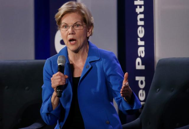 Democratic candidate for president Sen. Elizabeth Warren speaks at We Decide: 2020 Election Membership Forum, an event put on by Planned Parenthood in the University of South Carolina's Alumni Center in Columbia, South Carolina, U.S., June 22, 2019.  REUTERS/Leah Millis