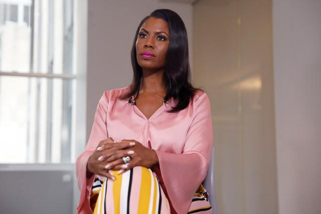"""Former U.S. White House staffer Omarosa Manigault-Newman sits during an interview on the release of her book """"Unhinged"""" in Manhattan, New York, U.S., August 14, 2018.  REUTERS/Shannon Stapleton"""
