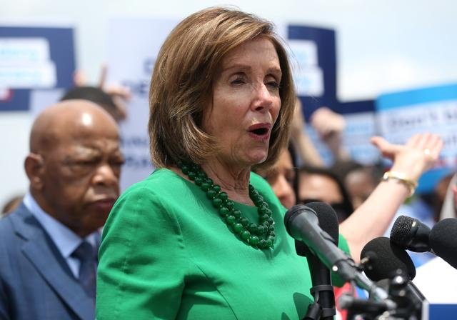 U.S. House Speaker Nancy Pelosi speaks at a news conference held by Democrats on the state of voting rights in America outside of the U.S. Capitol Building in Washington, U.S., June 25, 2019. REUTERS/Leah Millis