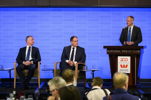 News Corp Executive Chairman Michael Miller (right) speaks while Managing Director ABC David Anderson (centre) and Nine Chief Executive Officer Hugh Marks look on during a National Press Club panel discussion in Canberra, Australia, June 26, 2019. AAP Image/Rohan Thomson/via REUTERS    ATTENTION EDITORS - THIS IMAGE WAS PROVIDED BY A THIRD PARTY. NO RESALES. NO ARCHIVE. AUSTRALIA OUT. NEW ZEALAND OUT. NO COMMERCIAL OR EDITORIAL SALES IN NEW ZEALAND. NO COMMERCIAL OR EDITORIAL SALES IN AUSTRALIA.