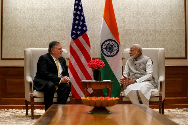 U.S. Secretary of State Mike Pompeo, left, talks with Indian Prime Minister Narendra Modi during their meeting at the Prime Minister's Residence, Wednesday, June 26, 2019, in New Delhi, India.  Jacquelyn Martin/Pool via REUTERS