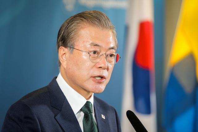 South Korea's President Moon Jae-in speaks at a news conference after his meeting with Sweden's Prime Minister Stefan Lofven at Grand Hotel in Saltsjobaden outside Stockholm, Sweden June 15, 2019. Soren Andersson/TT News Agency/via REUTERS