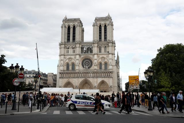 The Notre-Dame de Paris cathedral is pictured after the first mass since the devastating fire in April, in Paris, France, June 15, 2019. REUTERS/Benoit Tessier