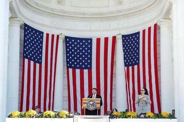 FILE PHOTO: U.S. Secretary of Veterans Affairs Robert Wilkie speaks during ceremonies on Veteran's Day at Arlington National Cemetery in Arlington, Virginia, U.S., November 11, 2018. REUTERS/Joshua Roberts/File Photo
