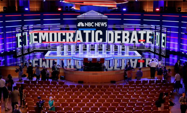 The stage of the first U.S. 2020 presidential election Democratic candidates debate is seen before the first 10 of 20 total Democratic candidates take the stage to start a debate that will be held over the course of two nights at the Adrienne Arsht Performing Arts Center in Miami, U.S. June 26, 2019. REUTERS/Jim Bourg