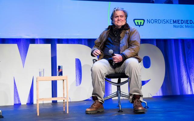 Former White House Chief Strategist Steve Bannon sits on the stage during the Nordic Media Festival in Bergen, Norway, May 9, 2019. Terje Pedersen/ NTB Scanpix via REUTERS