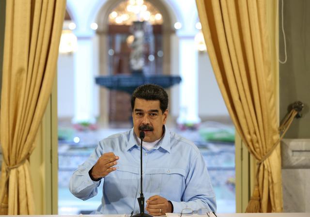 Venezuela's President Nicolas Maduro delivers a speech from Miraflores palace in Caracas, Venezuela May 31, 2019. Miraflores Palace/Handout via REUTERS