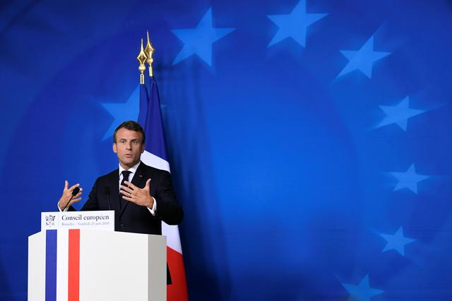 French President Emmanuel Macron speaks during a news conference after the European Union leaders summit in Brussels, Belgium, June 21, 2019. REUTERS/Piroschka van de Wouw