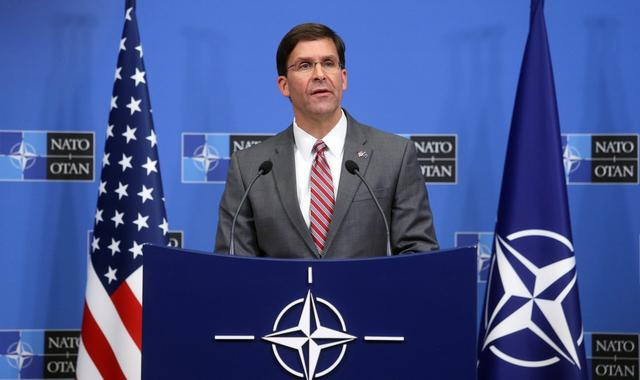 Acting U.S. Secretary for Defense Mark Esper speaks during a news conference after a NATO Defence Ministers meeting in Brussels, Belgium June 27, 2019. REUTERS/Francois Walschaerts