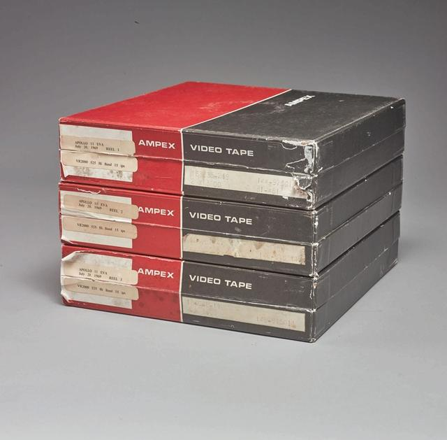Three video tapes bought by a NASA intern in 1976, which according to Sotheby's is said to be the only surviving original Apollo 11 recording of man's first steps on the moon, are shown in this handout photo taken June 14, 2019, and obtained by Reuters June 27, 2019. Courtesy Sotheby's/Handout via REUTERS.