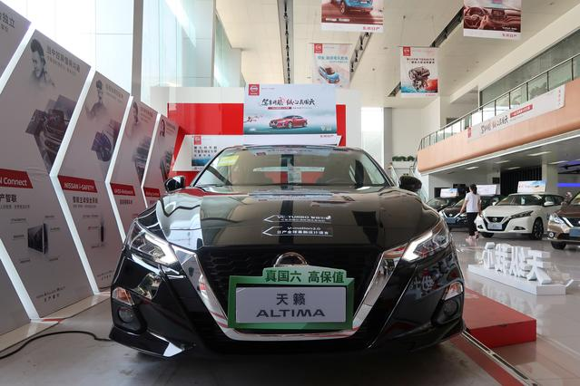 A Nissan Altima car with a China Stage VI emission standard is seen at a dealership in Beijing, China June 23, 2019. Picture taken June 23, 2019. REUTERS/Yilei Sun