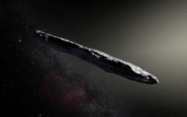 This artist's impression shows the first-known interstellar object to visit the solar system, 'Oumuamua, which was discovered on October 19, 2017, by the Pan-STARRS 1 telescope in Hawaii, U.S., with subsequent observations from ESO's Very Large Telescope in Chile and other observatories around the world. European Southern Obervatory/M. Kornmesser/Handout via REUTERS