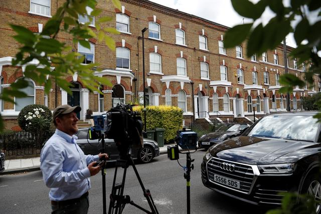 General view outside a house where the body of a suspected stowaway fell into the back garden from a plane flying over southwest London, Britain, July 2, 2019. REUTERS/Peter Nicholls