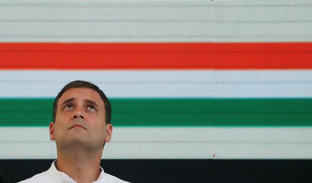 FILE PHOTO: Rahul Gandhi, President of India's main opposition Congress party, looks up before releasing his party's election manifesto for the April/May general election in New Delhi, India, April 2, 2019. REUTERS/Adnan Abidi/File Photo