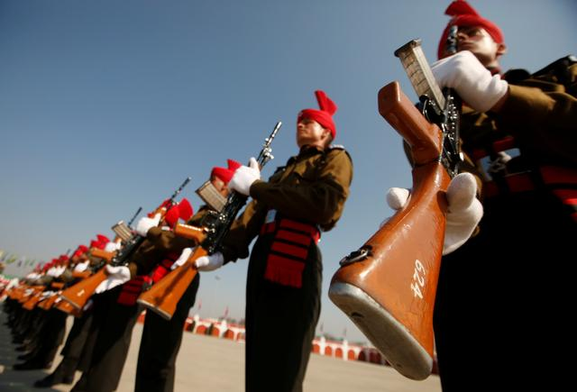 FILE PHOTO - Indian army recruits wearing ceremonial uniforms attend their passing-out parade in Rangreth on the outskirts of Srinagar March 9, 2019. REUTERS/Danish Ismail