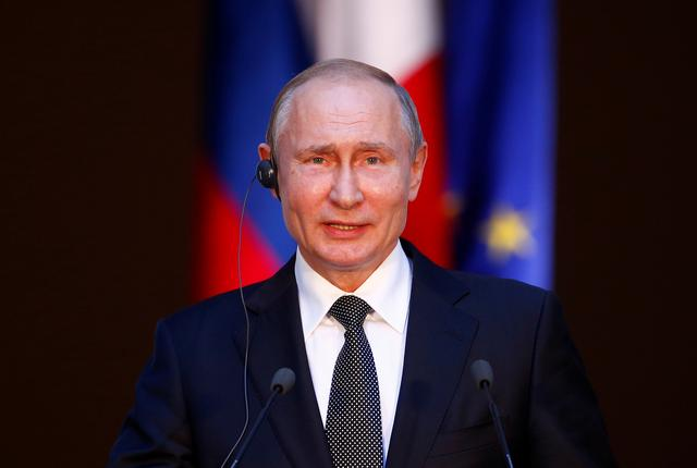 Russian President Vladimir Putin and Italian Prime Minister Giuseppe Conte (not pictured) attend a joint news conference in Rome, Italy July 4, 2019. REUTERS/Yara Nardi