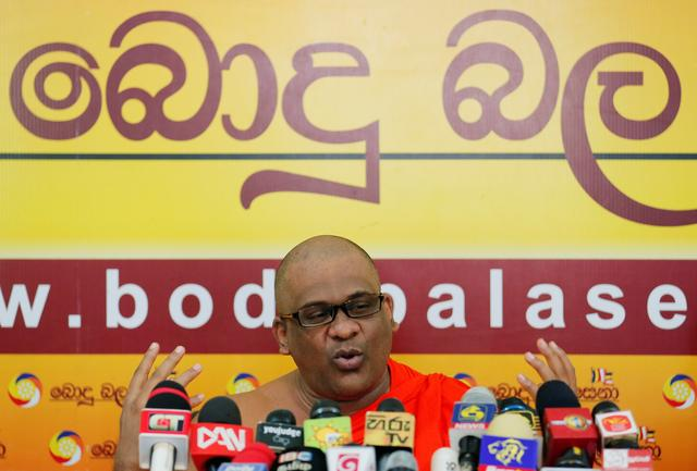 FILE PHOTO - Galagoda Aththe Gnanasara Thero, head of the hardline Bodu Bala Sena (BBS) or Buddhist Power Force, speaks during a news conference in Colombo, Sri Lanka May 28, 2019. REUTERS/Dinuka Liyanawatte