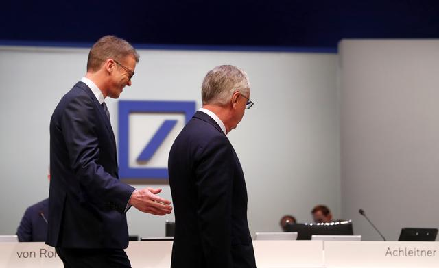 FILE PHOTO: Chairman of the board Paul Achleitner (R) and CEO Christian Sewing walk during the annual shareholder meeting of Germany's largest business bank, Deutsche Bank, in Frankfurt, Germany, May 23, 2019. REUTERS/Kai Pfaffenbach/File Photo