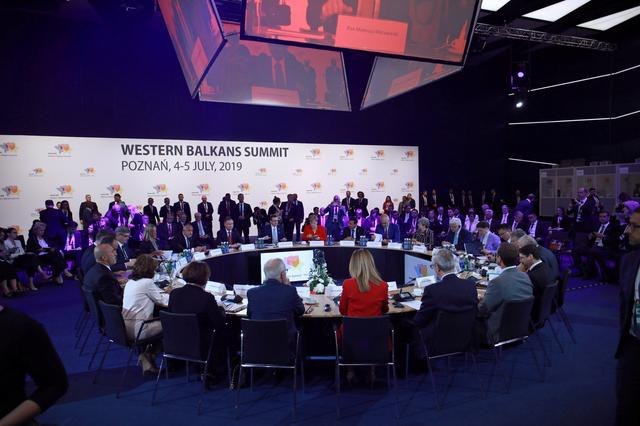 A general view shows attendees of a Western Balkans Summit in Poznan, Poland July 5, 2019. Agencja Gazeta/Lukasz Cynalewski via REUTERS