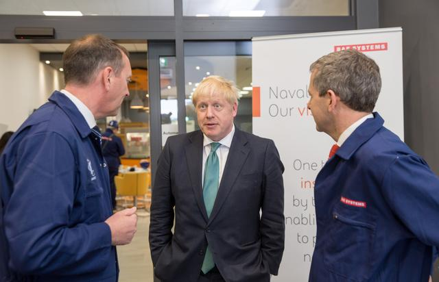 Boris Johnson visits BAE Systems in Govan, Glasgow, Scotland, Britain July 5, 2019. Robert Perry/Pool via REUTERS