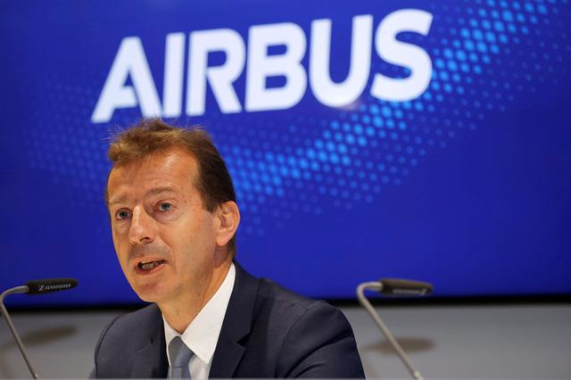 FILE PHOTO: Airbus CEO Guillaume Faury attends a news conference at the 53rd International Paris Air Show at Le Bourget Airport near Paris, France June 20, 2019. REUTERS/Pascal Rossignol/File Photo