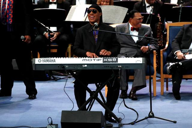 FILE PHOTO: Stevie Wonder performs at the funeral service for the late singer Aretha Franklin at the Greater Grace Temple in Detroit, Michigan, U.S., August 31, 2018. REUTERS/Mike Segar/File Photo