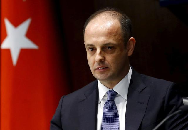 Turkey's new central bank governor Murat Cetinkaya speaks during a brief ceremony at which he officially took over from outgoing governor Erdem Basci in Ankara, Turkey, April 19, 2016.