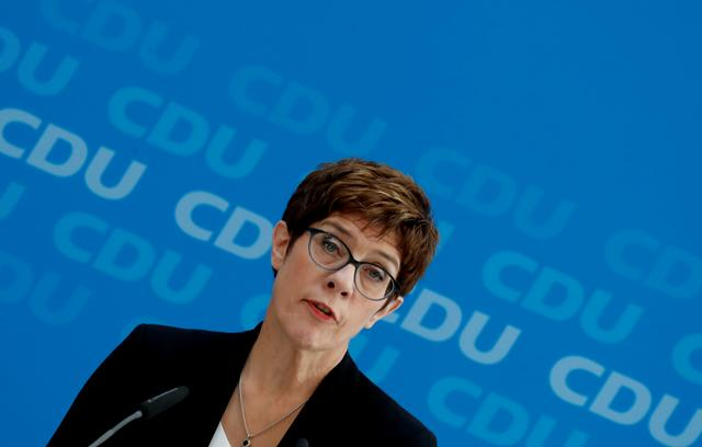 FILE PHOTO: Annegret Kramp-Karrenbauer, Chairwoman of Germany's Christian Democratic Union party (CDU), addresses a news conference at the party headquarters in Berlin, Germany June 3, 2019.   REUTERS/Fabrizio Bensch/File Photo