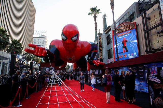 "A giant spider-man balloon is seen above the red carpet along a closed Hollywood Blvd. outside the TCL Chinese Theatre for the World Premiere of Marvel Studios' ""Spider-man: Far From Home"" in Los Angeles, California, U.S., June 26, 2019. REUTERS/Danny Moloshok"