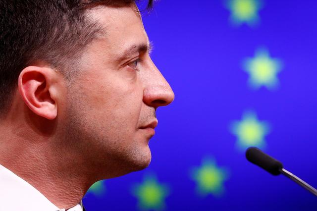 FILE PHOTO: Ukrainian President Volodymyr Zelenskiy holds a news conference after meeting European Council President Donald Tusk in Brussels, Belgium, June 5, 2019. REUTERS/Francois Lenoir/File Photo