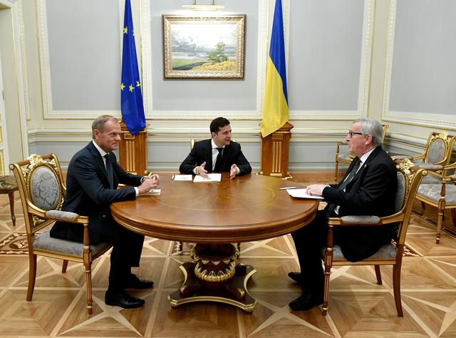 Ukraine's President Volodymyr Zelenskiy meets with European Council President Donald Tusk and European Commission President Jean-Claude Juncker in Kiev, Ukraine, July 8, 2019. Ukrainian Presidential Press Service/Handout via REUTERS