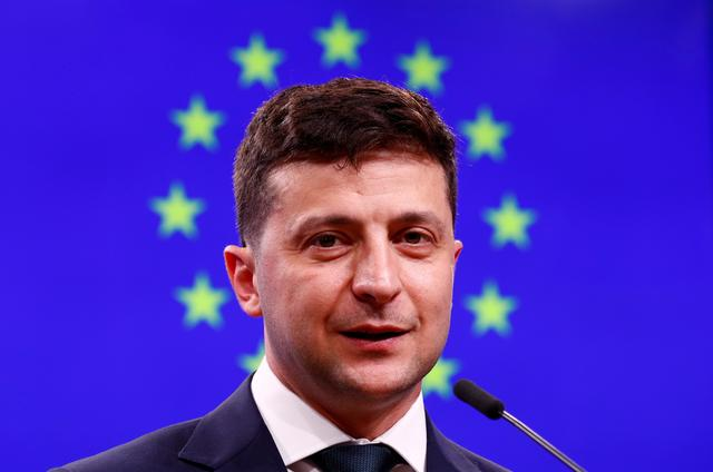 FILE PHOTO: Ukrainian President Volodymyr Zelenskiy holds a news conference after meeting European Council President Donald Tusk in Brussels, Belgium, June 5, 2019. REUTERS/Francois Lenoir
