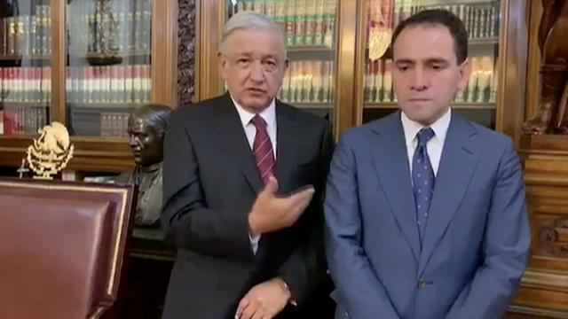 Mexican President Andres Manuel Lopez Obrador presents new Finance Minister Arturo Herrera in Mexico City, Mexico, July 9, 2019, in this still image taken from a video. REUTERS/Mexican Government TV/Handout via REUTERS