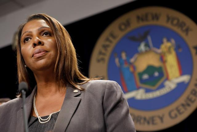 New York State Attorney General Letitia James speaks at a news conference to announce the filing of a federal lawsuit in partnership with at least 10 U.S. state attorneys general to stop a proposed $26 billion merger of mobile carriers Sprint and T-Mobile in New York, U.S., June 11, 2019. REUTERS/Mike Segar