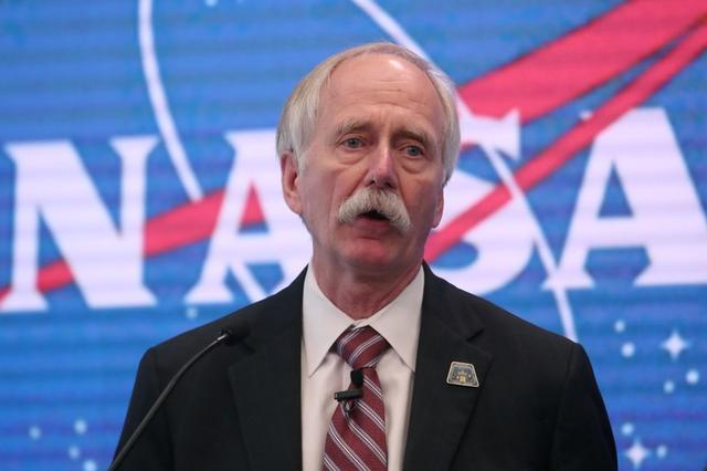 FILE PHOTO: Bill Gerstenmaier, Associate Administrator, NASA's Human Exploration and Operations Mission Directorate, NASA  Headquarters, speaks during a press conference announcing that NASA is opening the International Space Station for commercial business so U.S. industry innovation and ingenuity can accelerate a commercial economy in low-Earth orbit at the NASDAQ Market site, at Times Square in New York City, U.S., June 7, 2019.  REUTERS/Shannon Stapleton/File Photo
