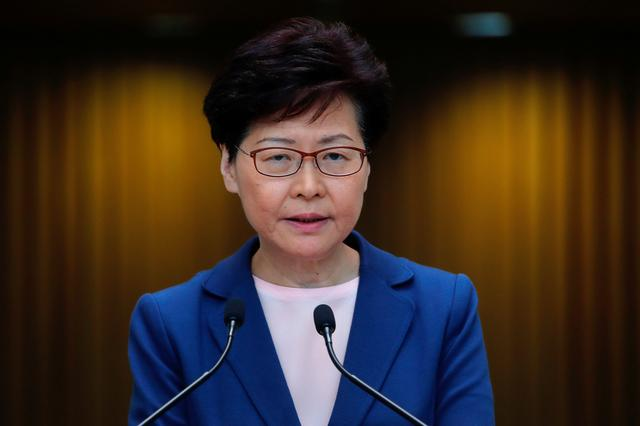 FILE PHOTO: Hong Kong Chief Executive Carrie Lam speaks to media over an extradition bill in Hong Kong, China July 9, 2019. REUTERS/Tyrone Siu/File Photo