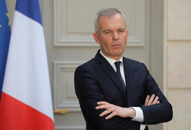 FILE PHOTO: French Minister for the Ecological and Inclusive Transition Francois de Rugy takes part in a news conference after the first Council for Environmental Defence at the Elysee Palace in Paris, France May 23, 2019. Ludovic Marin/Pool via REUTERS